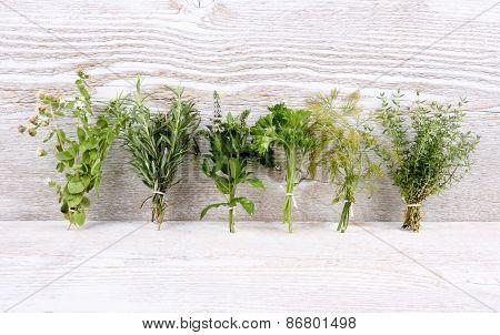 Italian Herbs In Bundle On White Wooden