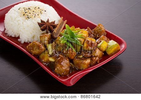 Japan Cuisine. Rice With Zucchini In Honey Sauce.