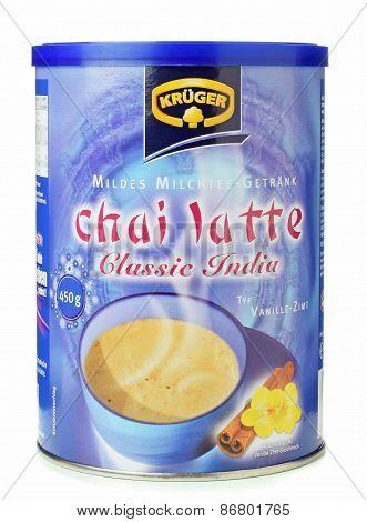A tub of Krueger instant chai latte tea