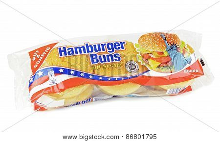 A pack of sesame hamburger  buns