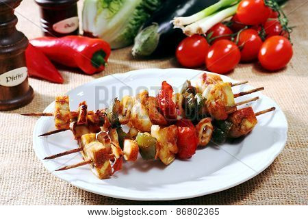 Various Types Of Fish With Shrimp On Skewers