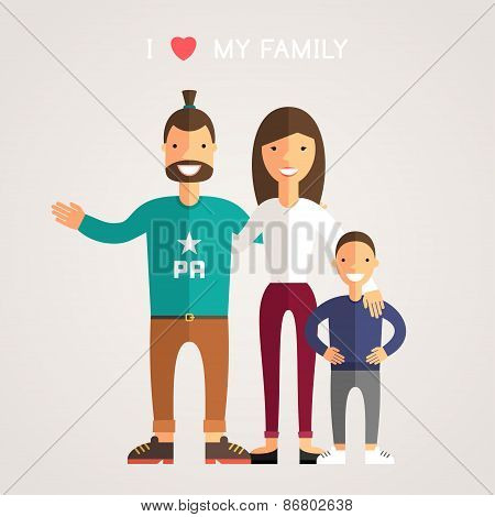 Happy Family Parents With Son. Father, Mother, Son. I Love My Family