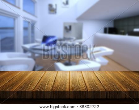 3D render of a wooden table with a defocussed cafe bar in the background