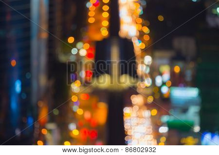 Bokeh lights in City of Bangkok night
