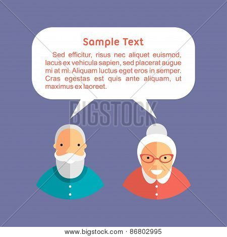 Grandfather And Grandmother With Speech Bubbles. Flat Design Vector Illustration