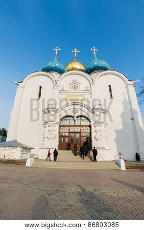 Sergiev Posad, Russia - March 28, 2015.  great Trinity monastery in Sergiyev Posad near Moscow. Gold