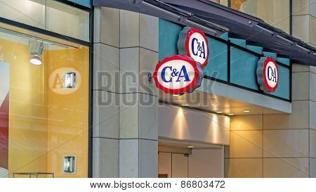 The C&A shop sign
