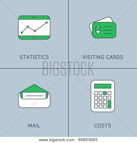 Set Of Modern Vector Thin Line Icons. Statictics, Visiting Cards, Mail, Costs