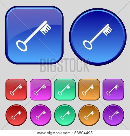 Key Icon Sign. A Set Of Twelve Vintage Buttons For Your Design. Vector