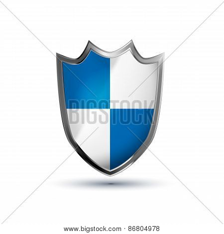 Protection shield glossy vector icon isolated on white