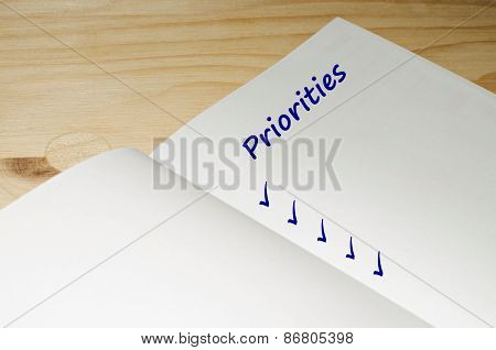 Open agenda with a blank list of priorities