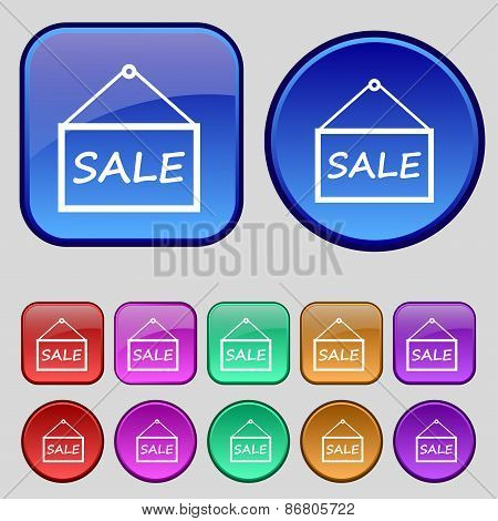 Sale Tag Icon Sign. A Set Of Twelve Vintage Buttons For Your Design. Vector