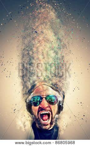 Crazy screaming disc jockey with headphones and a lot of explosion particles flying get over the air! Idea to use as background for party Flyers and club event music posters.