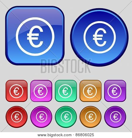 Euro Icon Sign. A Set Of Twelve Vintage Buttons For Your Design. Vector
