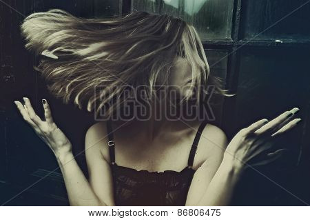 Woman's Hair In A Swirling Wind