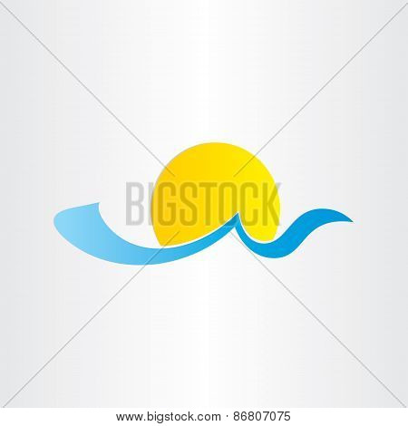 Sun And Sea Wave Summer Water Icon