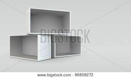 Empty open boxes. Eps10 vector illustration