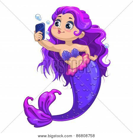 Little cartoon mermaid