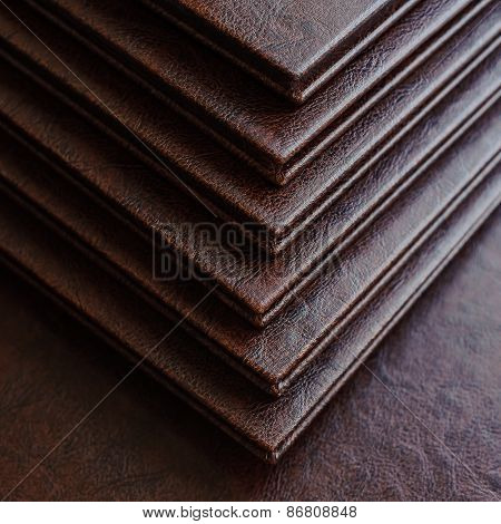 Books In A Brown Leather Cover