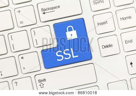 White Conceptual Keyboard - Ssl (blue Key)