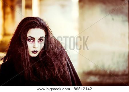 Long Hair Girl With Scary Makeup