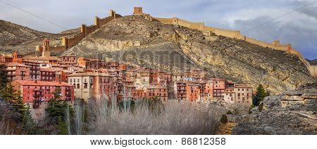 Albarracin panorama  - medieval terracotte village in Aragon, Sp