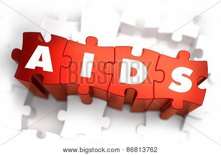 Aids - Text on Red Puzzles with White Background.