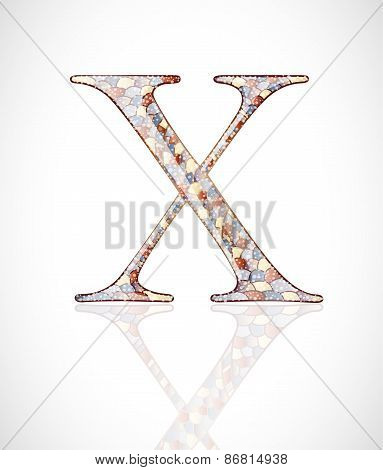 Abstract colorful glass letter Z.