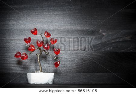 Beautiful Love Tree With Red Hearts On It