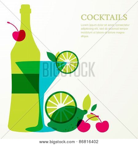 Bottle And Glass With Lime, Cherry Fruits. Abstract Vector Background Design Template With P