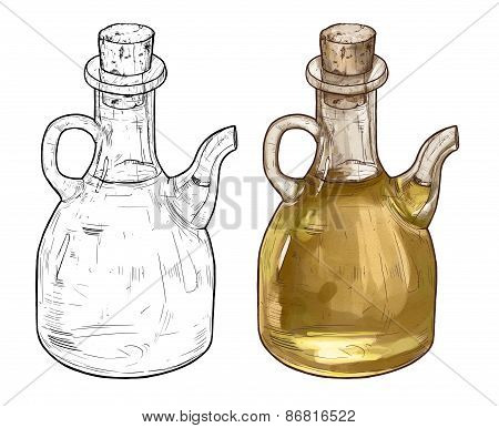 Hand Drawn Line Art Illustration Of Olive Oil Bottles. Two Color Variations Isolated On White Backgr