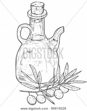 Hand Drawn Line Art Illustration Of Olive Oil With Olives. Isolated On White Background