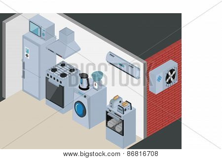 Household Icons appliances. Isometric Kitchen Appliances. Major household appliance Icon Set.