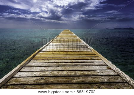Empty Dock Pier Over Tropical Water Mustique Island
