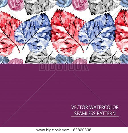 Seamless Pattern Of Red And Blue Leaves