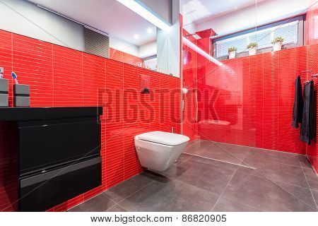Red Bathroom With Toilet