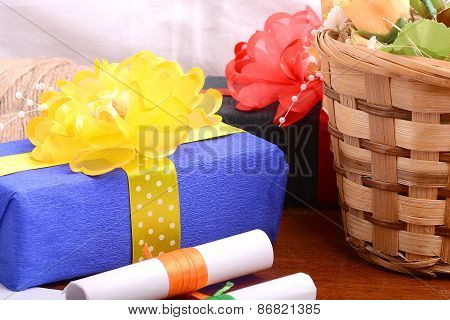 Flowers And Gift Box, Holiday Concept