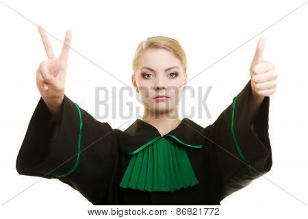 Woman Barrister Making Sign Victory Thumb Up Gesture