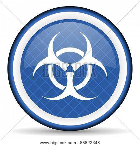 biohazard blue icon virus sign