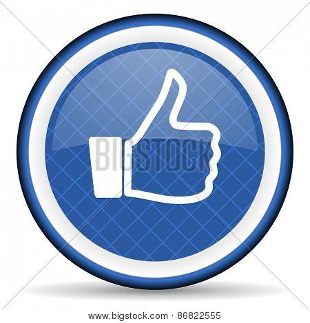like blue icon thumb up sign