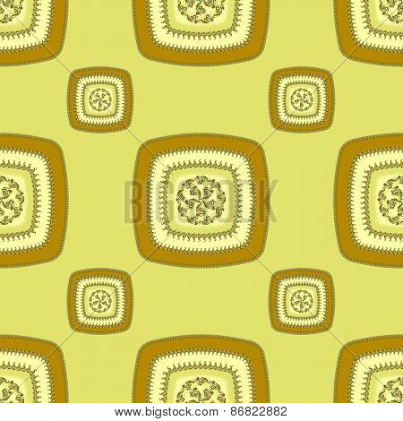 Abstract Seamless pattern with square  on green
