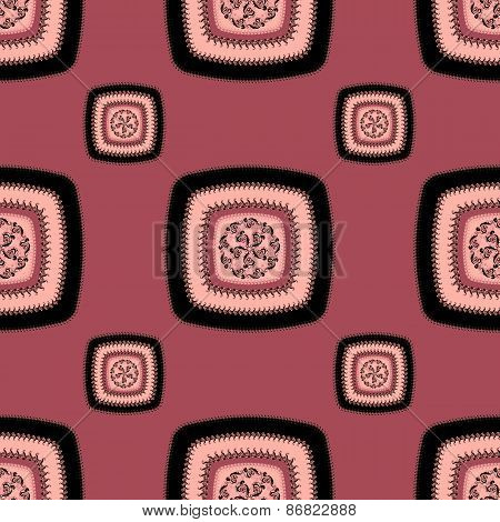 Abstract Seamless pattern with square  on pink lilac