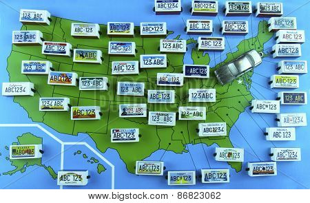 Us State License Plates On Map With Sedan