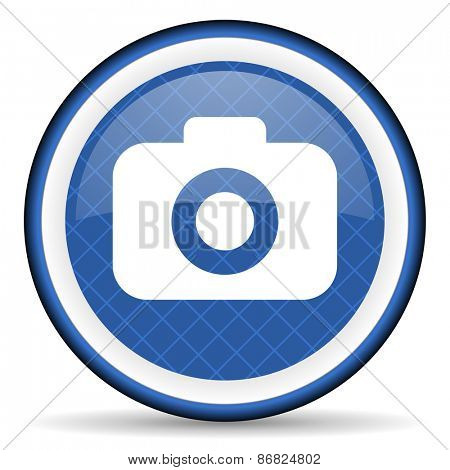 photo camera blue icon photography sign