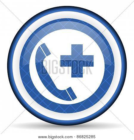 emergency call blue icon