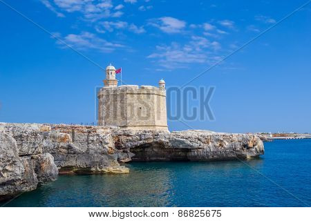 Castell de Sant Nicolau at the port mouth of Ciutadella de Menorca, Spain.