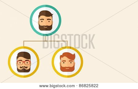 A company chart of three hipster Caucasian employees with beard ranking themselves from higher position down to the next position level. Leadership, teamwork concept. A contemporary style