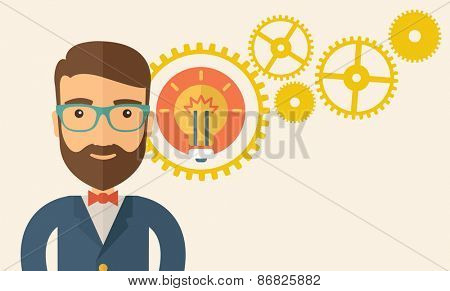 A young good looking, smart hipster Caucasian man with beard thinking a new bright idea, a different kind of imagination  inspired by bulb shape. Human intelligence concept.A contemporary style