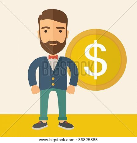 A hipster Caucasian businessman with beard wearing blue jacket smiling while standing with dollar sign beside him showing that he has an increasing sales in business. Happy, winner concept.