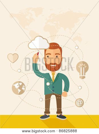 A happy, hipster Caucasian businessman with beard standing wearing jacket, raising his right hand holding a pen illustrating, interpreting his marketing plan inside the conference room. Business plan
